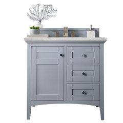 "36"" Palisades Single Sink Vanity w/ Marble Top - Silver Gray"