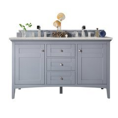 "60"" Palisades Double Sink Vanity w/ Marble Top - Silver Gray"