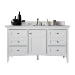 "60"" Palisades Single Sink Vanity w/ Marble Top - Bright White"