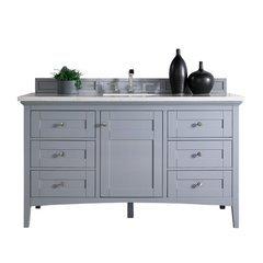"60"" Palisades Single Sink Vanity w/ Marble Top - Silver Gray"