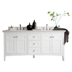 "72"" Palisades Double Sink Vanity w/ Marble Top - Bright White"