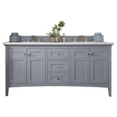 """72"""" Palisades Double Sink Vanity w/ Marble Top - Silver Gray"""