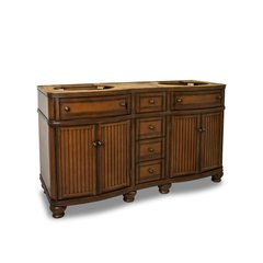 "60"" Compton Double Sink Cabinet Only w/o Top - Walnut"