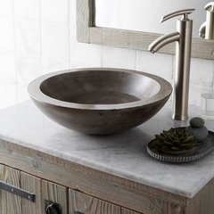 "17"" Round Morro Vessel Bathroom Sink - Ash"
