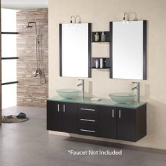 "61"" Portland Double Vessel Sink Bathroom Vanity - Espresso"