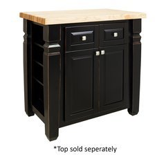 34 inch Loft Kitchen Island with o Top - Aged Black