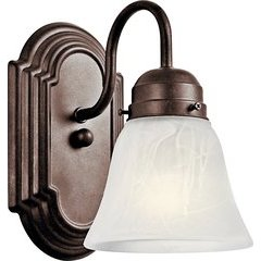 1 Light Wall Sconce Alabastser Swirl 100W - Tannery Bronze