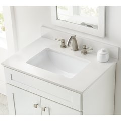 "31"" x 22"" Single Bowl Vanity Top Only w/ Basin -Winter White"