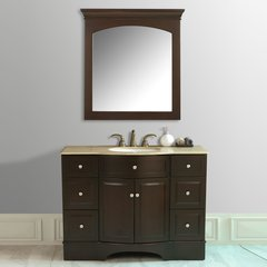 "48"" Lotus Single Vanity - Dark Brown/Travertine Top"
