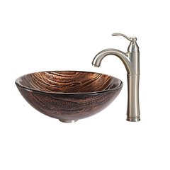 "17"" Gaia Vessel w/ Faucet - Multicolor/Satin Nickel"
