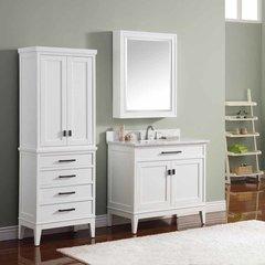 """37"""" Madison Single Vanity - White w/ Carrara White Top"""