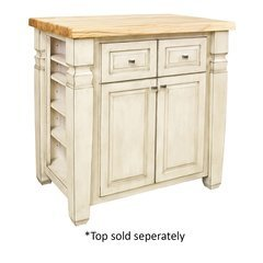 34 inch Loft Kitchen Island with o Top - French White