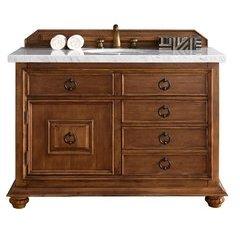 """48"""" Mykonos Single Sink Vanity w/ Granite Top - Cinnamon"""