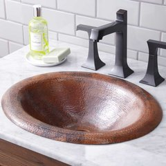"18"" x 15"" Maestro Lotus Drop-In Bath Sink - Tempered Copper"