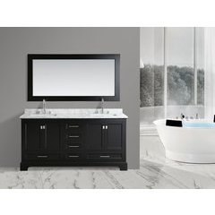 "72"" Omega Double Sink Bathroom Vanity-Espresso"