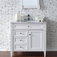 "36"" Brittany Single Vanity w/Cararra White Top-Cottage White"