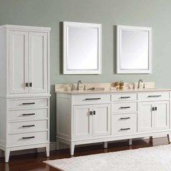 "73"" Madison Double Vanity - White w/ Galala Beige Top"