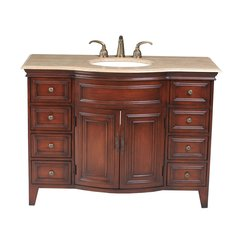 "48"" Yorktown Single Vanity - Dark Cherry/Travertine Top"