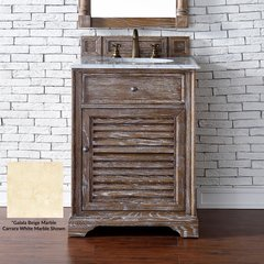 "26"" Savannah Single Vanity w/ Galala Beige Top-Driftwood"