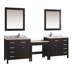 "Two 36"" London Single Sink Vanity w/ Make-up Table -Espresso"