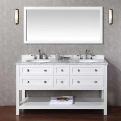 "60"" Marla Double Vanity - White/Carrara White Top"