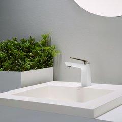 Seda 1 Handle Single Hole Bathroom Faucet - Br. Nickel/White