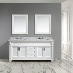 "72"" Hudson Double Sink Vanity w/ Carrara Marble Top - White"
