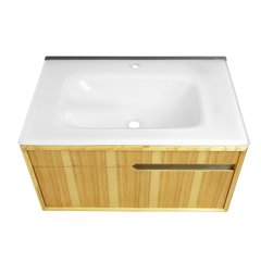 "29-3/5"" Cityscape Wallmount Single Sink Vanity - Hickory"