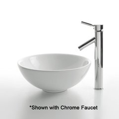"15"" White Round Vessel Sink w/ Faucet - White/Satin Nickel"
