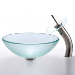 "16"" Frosted Vessel Sink w/ Faucet - Frosted/Satin Nickel"