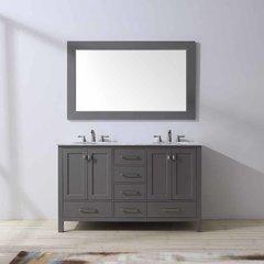 "60"" Malibu Double Vanity - Gray/Carrara White Top"