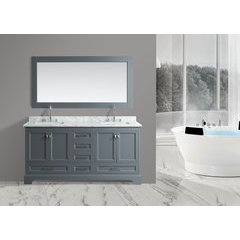 "72"" Omega Double Sink Bathroom Vanity-Gray"
