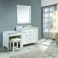 "42"" London Single Sink Vanity w/ Make Up Table - White"
