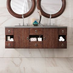 "60"" Sonoma Double Vanity Cabinet Only-Coffee Oak"