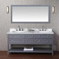 "72"" Marla Single Vanity - Gray/Carrara White Top"