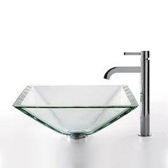 "16"" Square Clear Vessel Sink w/ Faucet - Clear/Chrome"