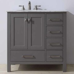 "36"" Malibu Single Vanity - Gray/Carrara White Top"