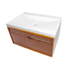 """29-3/5"""" Cityscape Wallmount Single Sink Vanity - Walnut"""