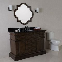 50 Inch Sable Walnut Vanity with Black Galaxy Counter Top and an Oval Sink