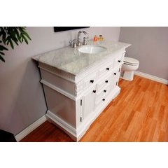 50 Inch White Vanity with White Marble Counter Top and an Oval Sink