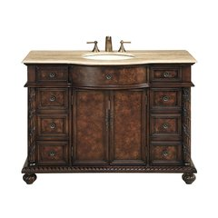 "48"" Amelia Single Vanity - Dark Cherry/Travertine Top"