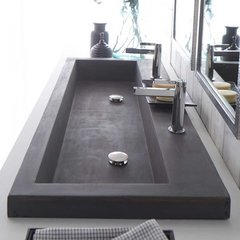 "48"" x 19"" Trough Drop-In Bathroom Sink - Slate"