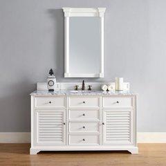 "60"" Savannah Single Vanity w/Cararra White Top-Cottage White"