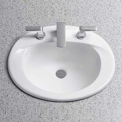 "20"" x 17"" Drop In/Self Rimming Bathroom Sink - Cotton Whit"
