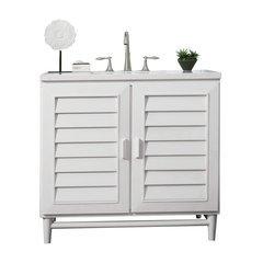 "36"" Portland Single Sink Vanity w/ Marble Top - Cottage White"