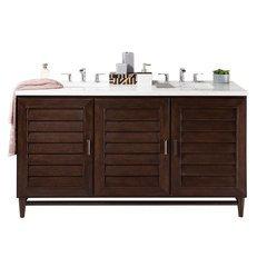 "60"" Portland Double Sink Vanity w/ Granite Top - Burnished Mahogany"