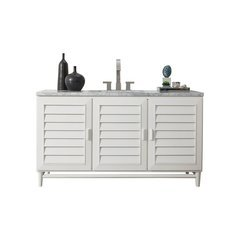 "60"" Portland Single Sink Vanity w/ Marble Top - Cottage White"