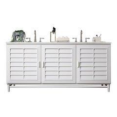 "72"" Portland Double Sink Vanity w/ Quartz Top - Cottage White"