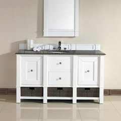 "60"" Madison Single Vanity w/ Santa Cecilia Top-Cott White"