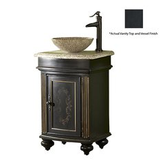 "24"" Arlington Vessel Sink Vanity w/ Black Top - Ebony"